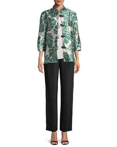 Paradise Palm Jacquard Mandarin-Collar Jacket and Matching Items