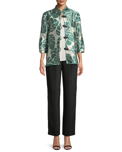 Paradise Palm Jacquard Mandarin-Collar Jacket, Plus Size and Matching Items