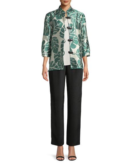 Paradise Palm Jacquard Mandarin-Collar Jacket, Plus Size