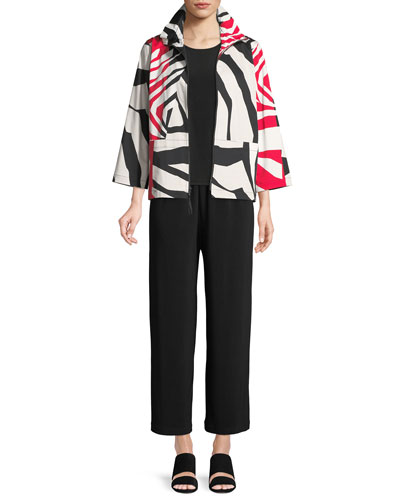 Wild Card Ruched-Collar Zip-Front Jacket  and Matching Items