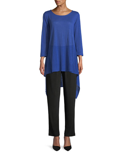 Long-Sleeve High-Low Linen Tunic, Plus Size and Matching Items