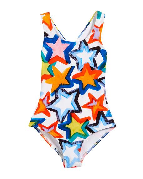 Stars Cross-Back One-Piece Swimsuit, Size 4-7