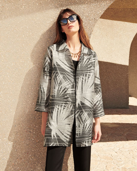 Shimmering Palms Shirt Jacket, Plus Size