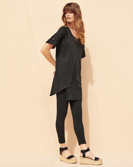Short-Sleeve Artistic Cotton Tunic