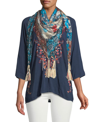 Olivia 3/4-Sleeve Embroidered Blouse, Plus Size and Matching Items