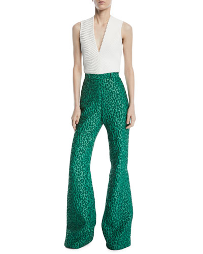 High-Waist Leopard-Jacquard Wide-Leg Pants and Matching Items