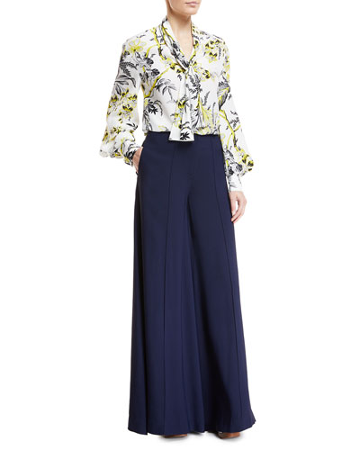 High Neck Floral-Print Silk Blouse and Matching Items