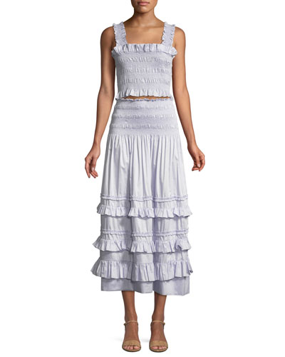 Smocked Sleeveless Ruffle Crop Top and Matching Items