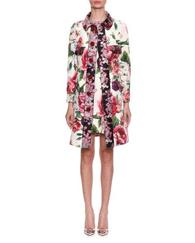 Long-Sleeve Rose Peony Jacquard Brocade Coat and Matching Items