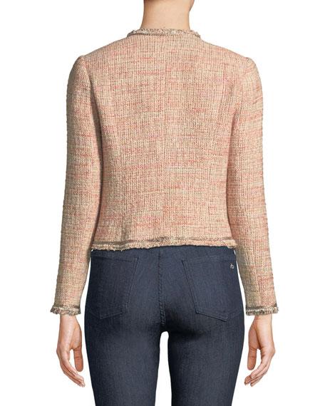 Open-Front Collarless Tweed Jacket