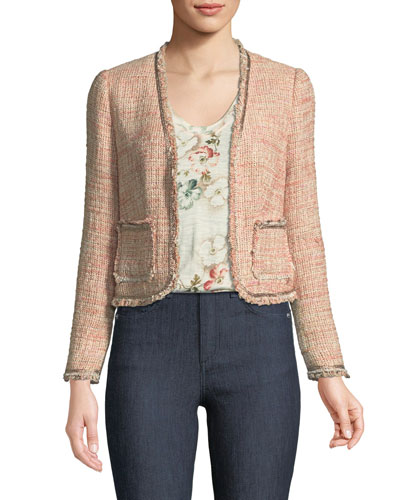 Open-Front Collarless Tweed Jacket and Matching Items