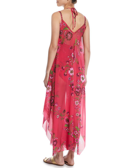 Floral-Print Maxi-Length Coverup Dress