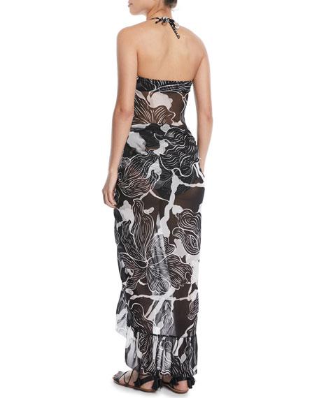 Printed Ruffle Wrap Skirt Pareo