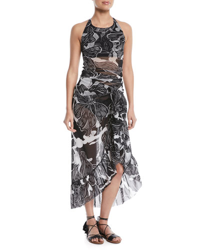 Printed Ruffle Wrap Skirt Pareo and Matching Items
