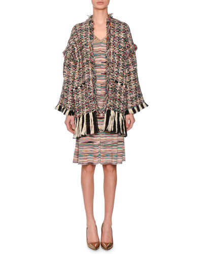 Oversized Multicolor Boucle Oversized Cardigan w/ Fray and Matching Items