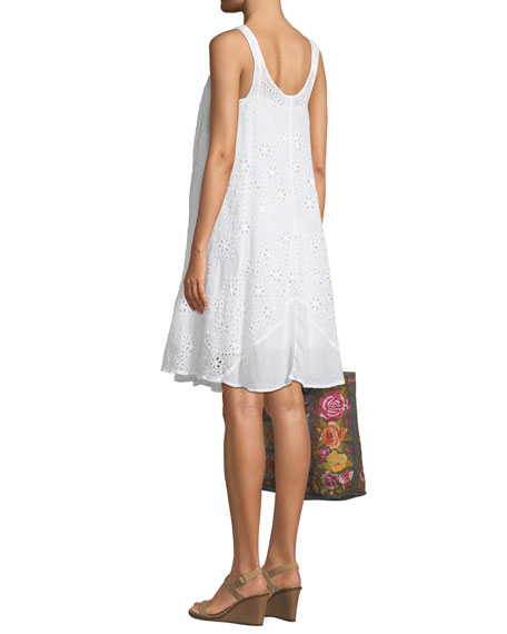 Mixed Eyelet Georgette Shift Dress with Slip
