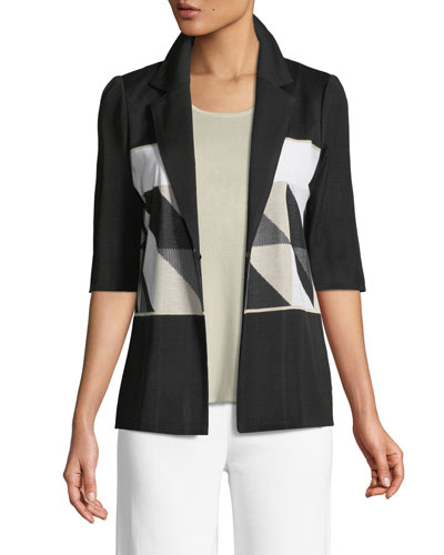 Geometric Half-Sleeve Jacket  and Matching Items