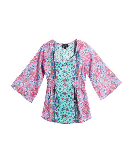 Portia Graphic-Print Silk Long Tunic