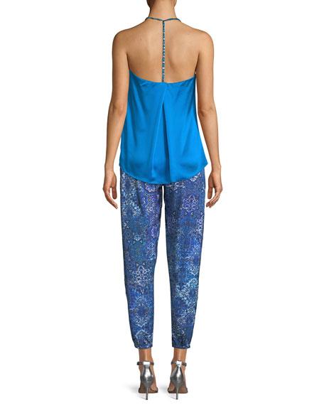 Korally T-Back Sleeveless Silk Blouse