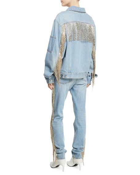 Oversized Fringe Jean Jacket