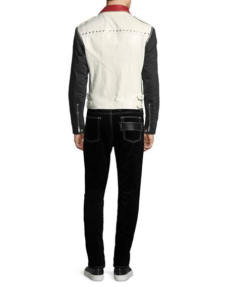 Detachable-Sleeve Leather Moto Jacket
