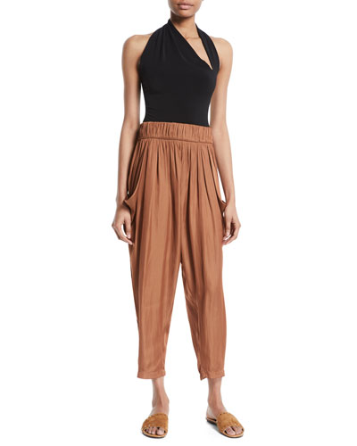 Flowy Ruched Knit Cropped Pants, Adobe and Matching Items