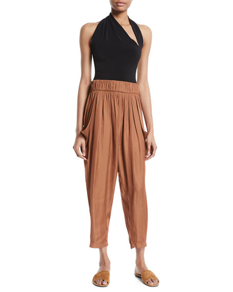 Flowy Ruched Cropped Satin Pants