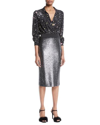 Metallic Bouclé Knit Pencil Skirt and Matching Items