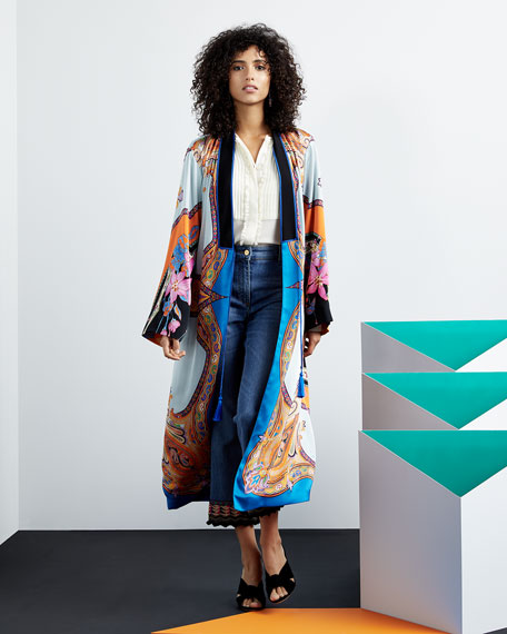 Tie-Front Scarf-Print Long-Sleeve Long Kimono