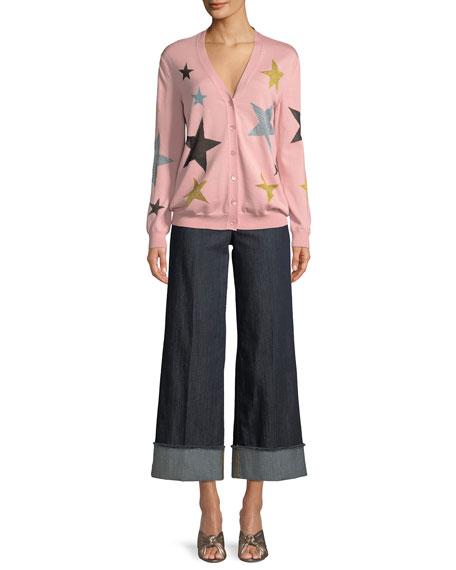 Star-Print Wool Cardigan