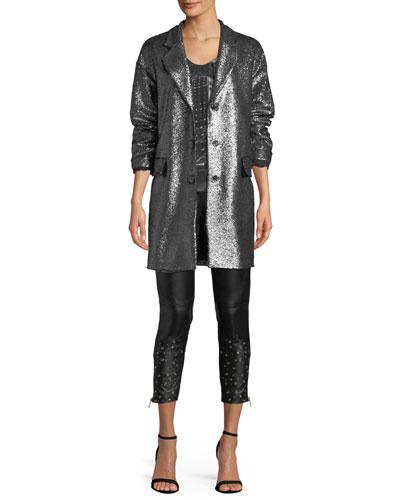 Metallic Bouclé-Knit Long Jacket and Matching Items