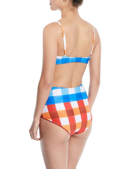 Carla Tie-Front Check Triangle Swim Top