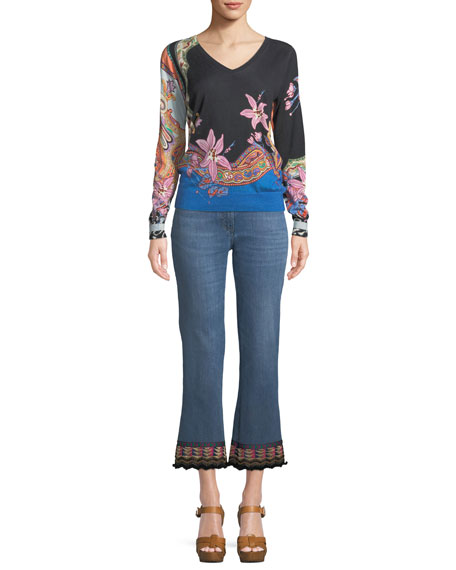 V-Neck Lily-Print Silk-Cashmere Sweater