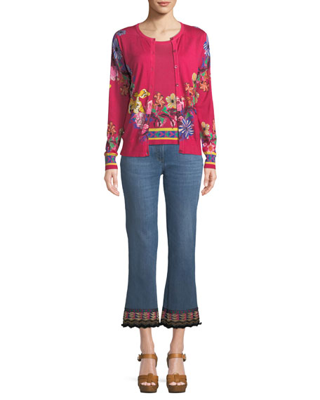 Button-Front Floral-Print Silk-Cashmere Sweater Set