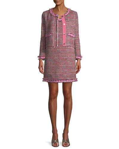 Flower-Trim Tweed Jacket and Matching Items