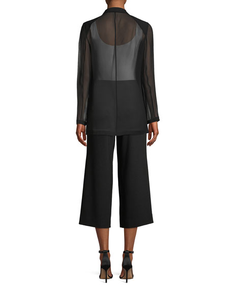 Jovana One-Button Sheer-Sleeve Jacket