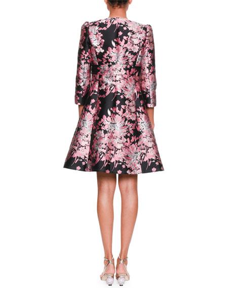 Long-Sleeve Button-Down Rose-Jacquard Coat w/ Metallic