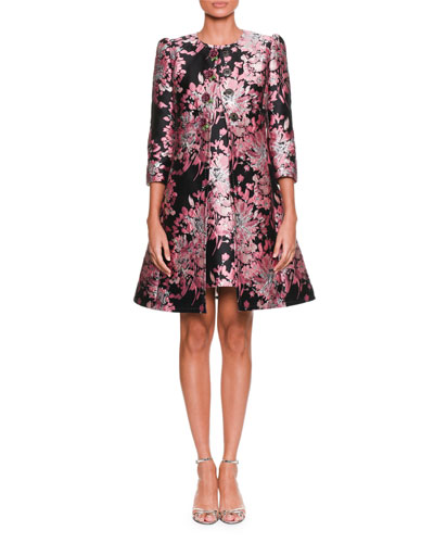 Long-Sleeve Button-Down Rose-Jacquard Coat w/ Metallic and Matching Items