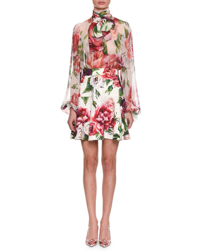Tie-Neck Long-Sleeve Rose & Peony-Print Silk Chiffon Blouse and Matching Items