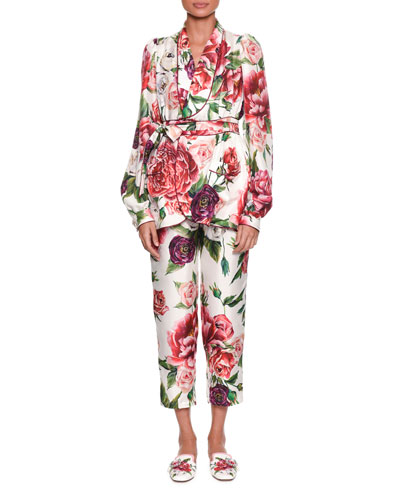 Long-Sleeve Rose Peony Belted Silk Pajama Top and Matching Items