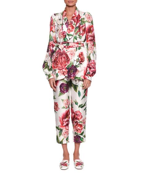 Long-Sleeve Rose Peony Belted Silk Pajama Top