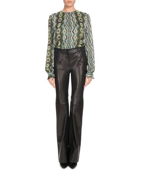 Mezouar Long-Sleeve Printed-Silk High-Low Tunic