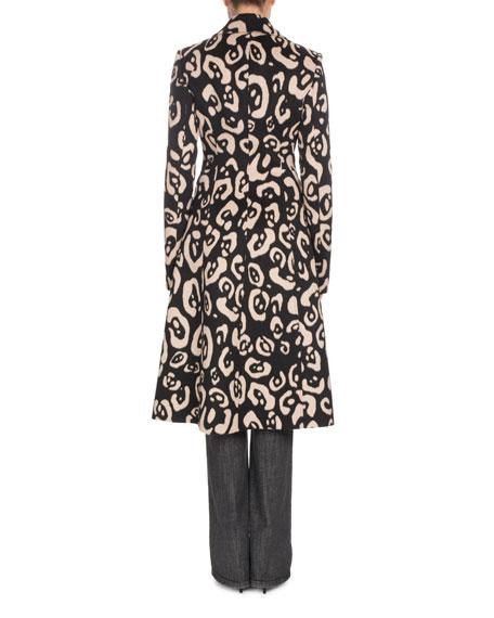 Leopard-Print Button-Down Wool Coat