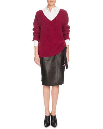 V-Neck Long-Sleeve Side-Ruche Cashmere Sweater and Matching Items