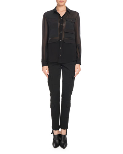 Button-Down Long-Sleeve Silk Georgette Shirt and Matching Items