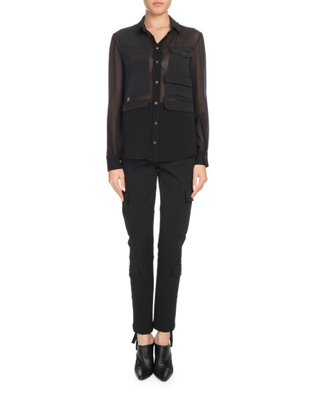 Button-Down Long-Sleeve Silk Georgette Shirt