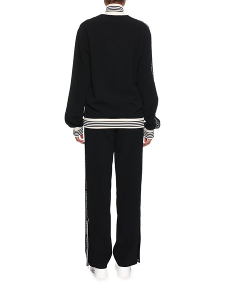 Stand-Collar Zip-Front Sweatshirt w/ DG Band & Rose Applique