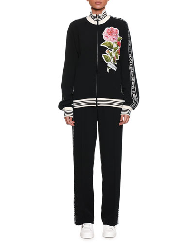 Stand-Collar Zip-Front Sweatshirt w/ DG Band & Rose Appliqué and Matching Items