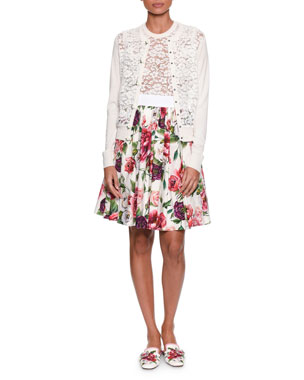877998958548 Dolce   Gabbana Long-Sleeve Button-Front Rose Lace Front Knit Cardigan  Sleeveless Rose