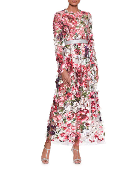 Long-Sleeve Embroidered Rose Peony Petals on Chiffon Gown
